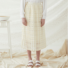 Check Lace Skirt - Ivory