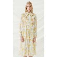 Floral Scarf Tie Dress - Yellow
