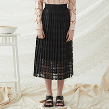 Check Lace Skirt - Black