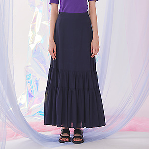 Bohemian Shirring Long Skirt - Navy