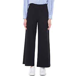 slashed palazzo pants - black