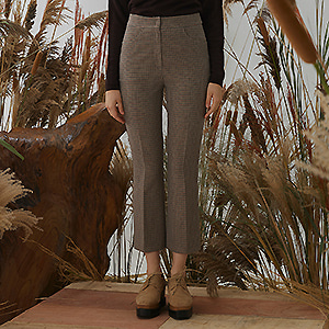 [전효성 착용]Elev Check Pants - Beige