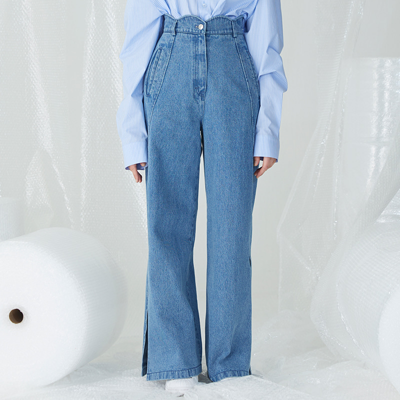 [4차 리오더][오윤아 착용]Scallop Slashed Pants - Light Blue