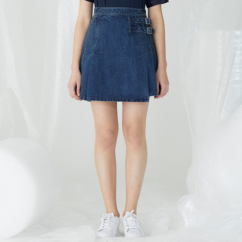 Double Belt Pile Miniskirt - Dark Blue