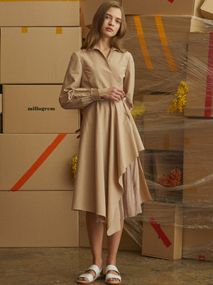 [오승아 착용]Oblong Wrap Dress - Beige