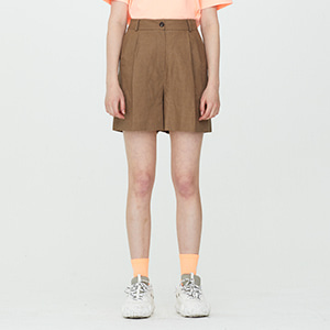 Two Tuck Linen Shorts - Brown